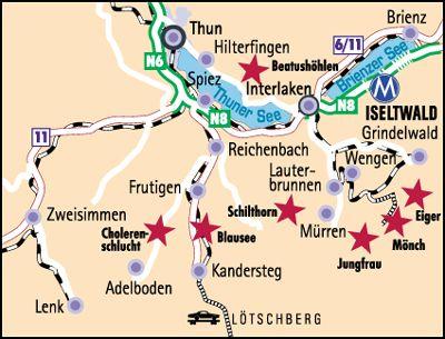 Map Of Iseltwald Switzerland Grindelwald Berner Oberland Und Adele
