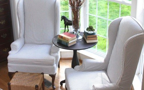 Navy Blue Ticking Stripe Fabric Used To Create Custom Slipcovers For These Ou