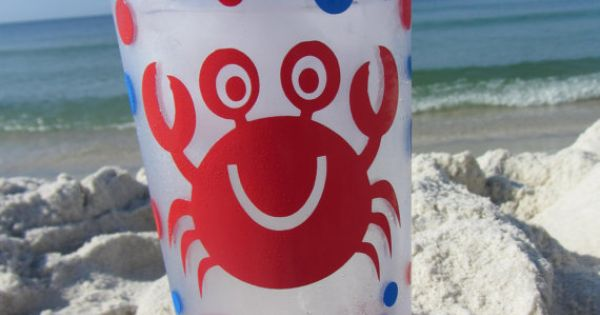 Personalized acrylic tumbler crab design party favor for Pool design reunion
