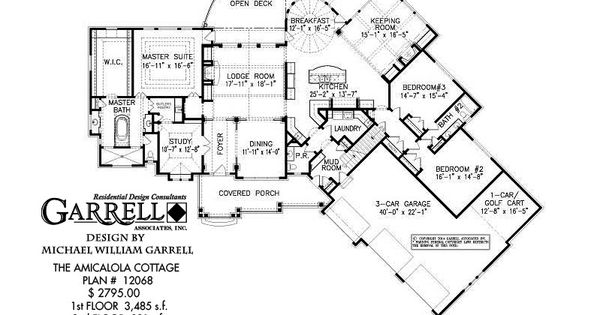 Amicalola cottage house plan 12068 1st floor plan rustic for Luxury mountain home floor plans