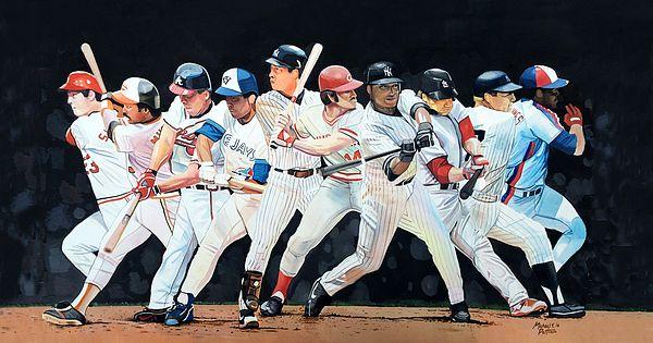 Switch Hitting Collage By Michael Pattison Sports Art Baseball Painting Baseball Art