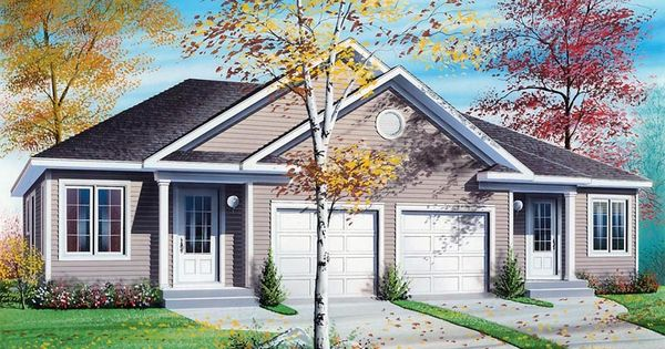 926 sq ft per unit 2 1 duplex plan chp 44105 at for Modern fourplex designs