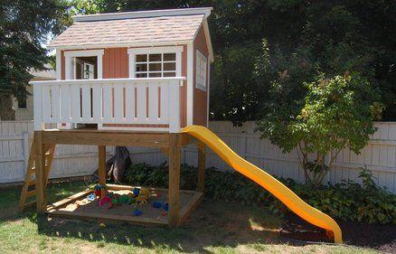 Backyard Playhouse And Sandbox Play Houses Build A Playhouse Backyard Playhouse