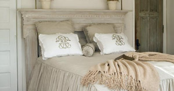 Another use for a wonderful fireplace mantel... headboard ideas