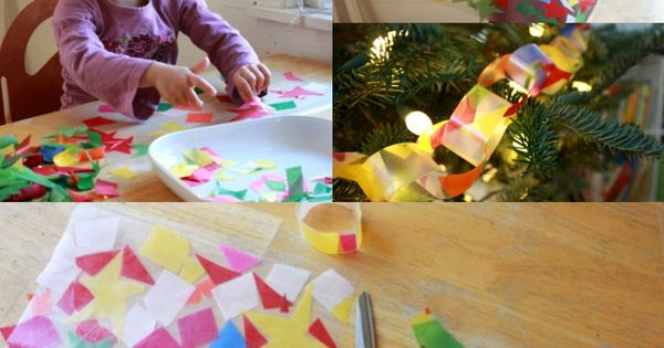 A stained glass paper chain for the Christmas tree! This would make