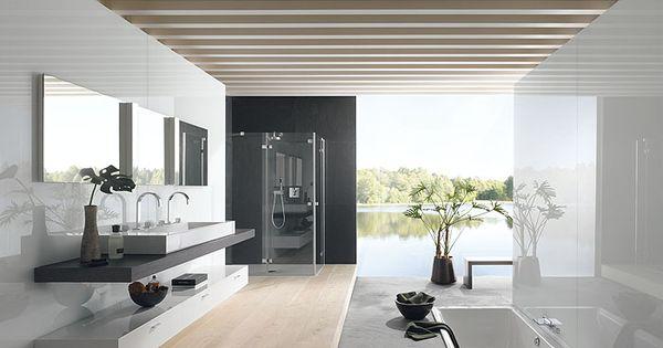 Mooie badkamer van bette met verzonken bad en houten vloer badkamers pinterest bad - Houten vloer hal bad ...