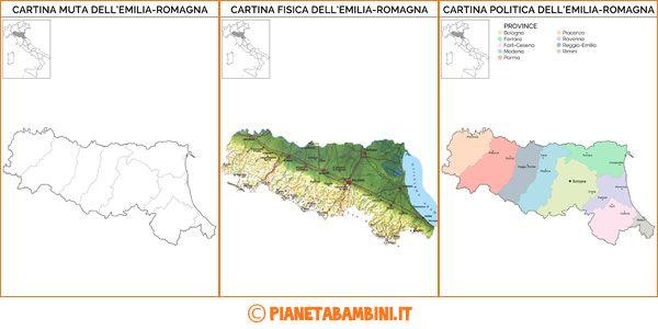 Cartina Della Emilia Romagna.Cartina Muta Fisica E Politica Dell Emilia Romagna Da