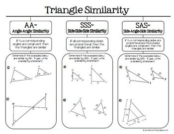 Triangle Similarity Aa Sss And Sas Graphic Organizer Triangle Math Graphic Organizers Geometry Lessons