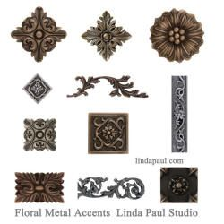 Collection Of Metal Flower Accnet Tiles And Borders