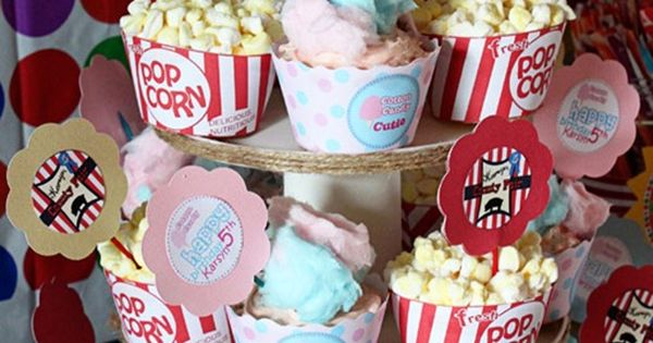 Cotton Candy and Popcorn Cupcakes--I think I might just fill cupcake wrappers