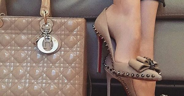 Nude studded Christian Louboutin heels, I wouldn't care if those shoes killed