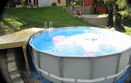 Above Ground Pool On A Sloped Yard Google Search Pools