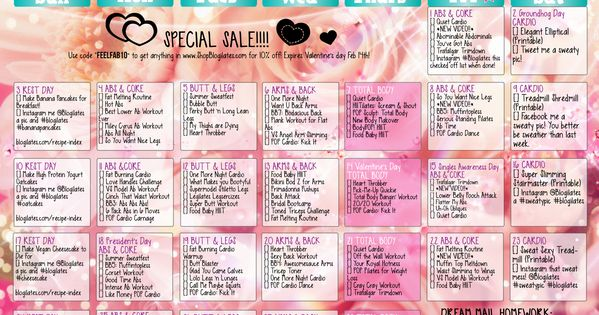 February 2013 workout schedule