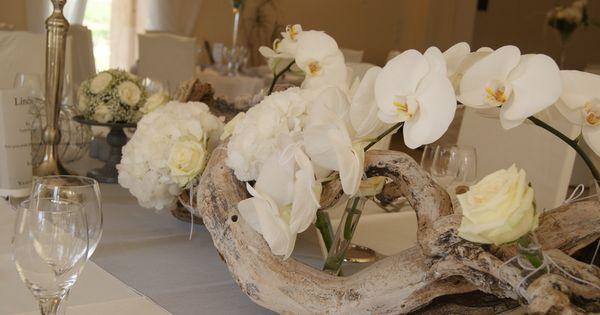 Magnifique centre de table orchid e bois flott mariages for Centre de table mariage bois flotte