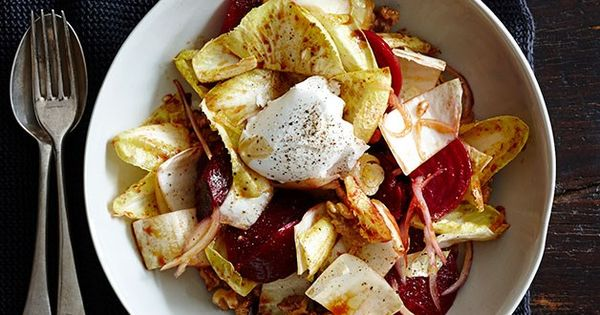 Beetroot, walnut and endive with pomegranate dressing recipe - Gourmet Traveller