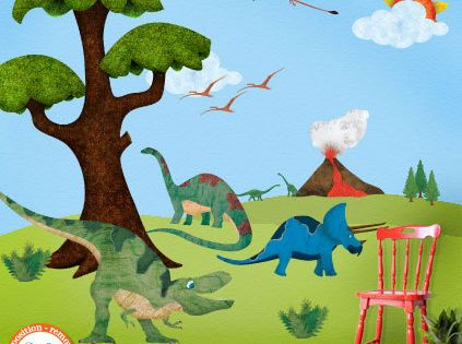 Dinosaur wall stickers decals for kids room wall mural for Dinosaur mural ideas