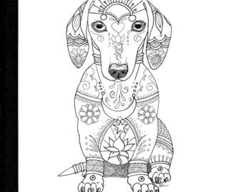 Art Of Dachshund Single Coloring Page Par Artbyeddy Sur Etsy Ink
