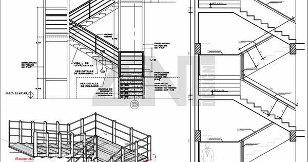 Zent design 2d escaleras de metalicas planos arch for Escaleras para planos