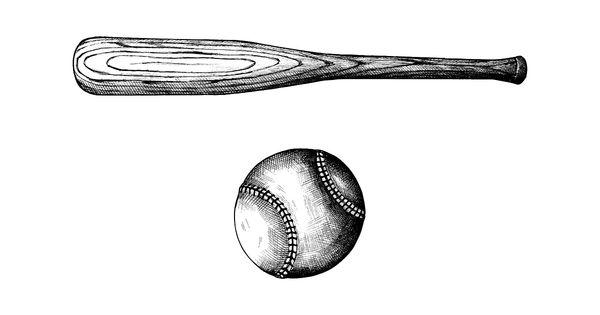 Download Premium Vector Of Hand Drawn Baseball Bat And Ball 410760 How To Draw Hands Baseball Bat Drawing Baseball Bat