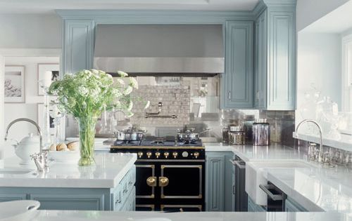 turquoise blue & black kitchen design with blue kitchen cabinets, stone countertops,