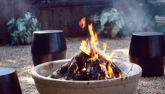 Concrete Fire pit, garden stools