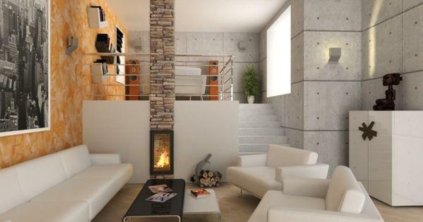 kaminofen wohnzimmer weiße wohnzimmermöbel schöne wandgestaltung, Wohnideen design