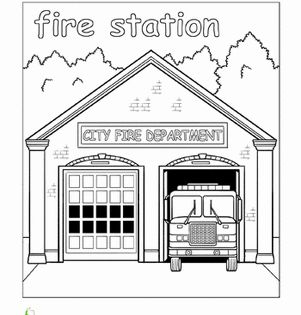 Paint The Town Fire Station Worksheet Education Com Fire Station Community Places Coloring Pages