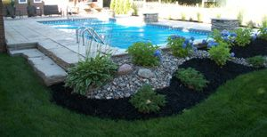 River Rock And Mulch Combo Backyard Pool Landscaping Above