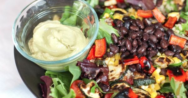 fiesta salad with smoky avocado dressing