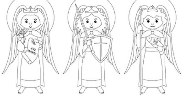 Archangels Coloring Page Catholic Coloring Saint Coloring