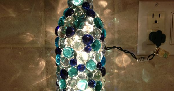Bottle Lamp W/ GLASS GEMS