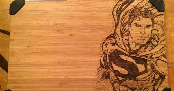 beautiful cutting board wood burned with a superman cherry wood bookshelves Corner Bookshelves