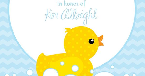Cute Rubber Duckie Blue or Pink Baby Shower Invitation - Printable