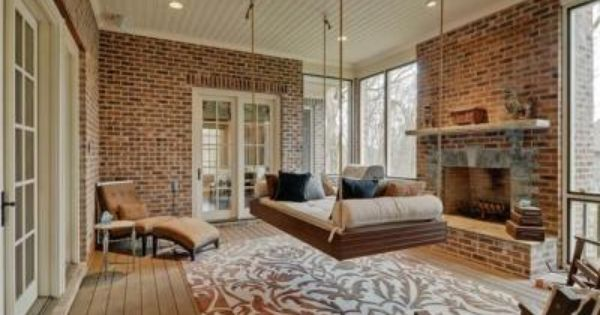 Indoor Swing Bed Home Brick Living Room Living Room Loft