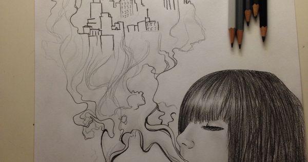 femme qui fume pour oublier pour r ver pour s 39 vader dessin sur papier pinterest. Black Bedroom Furniture Sets. Home Design Ideas