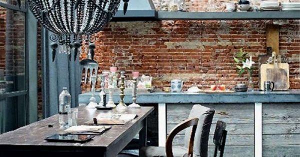 Brickwalls in je interieur mooi prachtig waanzinnig keuken pinterest muur blauw - Interieur decoratie stenen huis ...