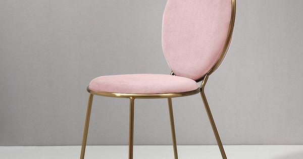 Modern Lovely Round Pink Velvet Upholstered Gold Dining Room Chair Metal Frame Set Of 2 In 2020 Gold Dining Room Pink Dining Rooms Beautiful Dining Rooms