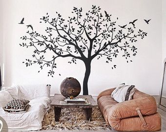 Wall Decal Large Tree Wall Decal Living Room Wall Decals Wall Sticker Wall Decor Tree Wall Decal With Cute Birds K003 Arboles En La Pared Calcamonias De