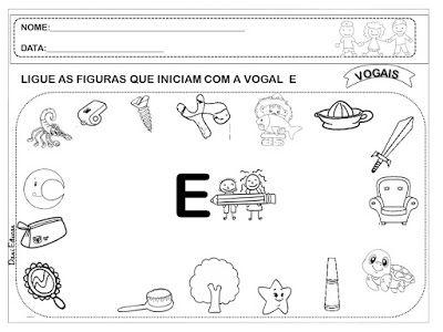 Ligue Vogais Com Imagens Alfabetizacao Alfabetizacao E