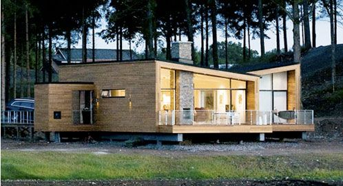 Modern Scandinavian Homes love the wood and black trim, transparent porch railings and big