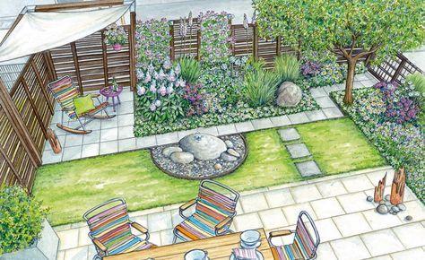 1 Garten 2 Ideen Eine Terrasse Wird Zum Freiluftzimmer Hinterhof Designs Landschaftsdesign Garten Grundriss