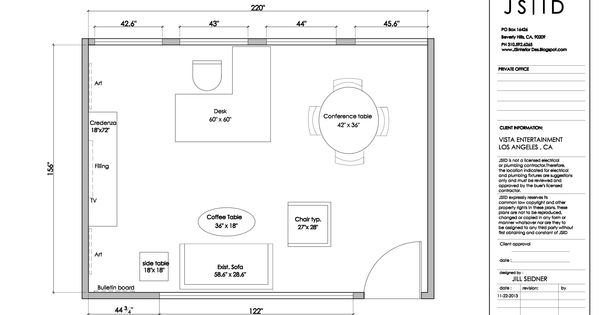 Los Angeles CA Executive Private Office Furniture Space Plan Layout Option