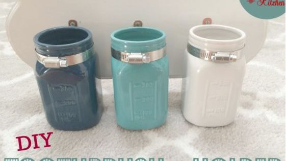 Diy mason jar toothbrush holder toothbrush holders for Small bathroom jars