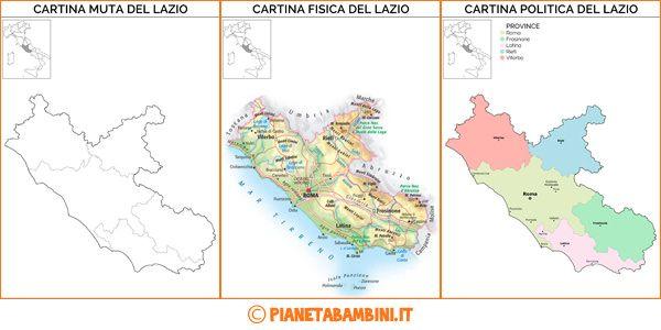 Cartina Lazio Politica.Cartina Muta Fisica E Politica Del Lazio Da Stampare