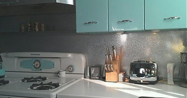 metal flake backsplash retro kitchen aqua kitchen 10 ways to do counter top edges from 1953 retro renovation