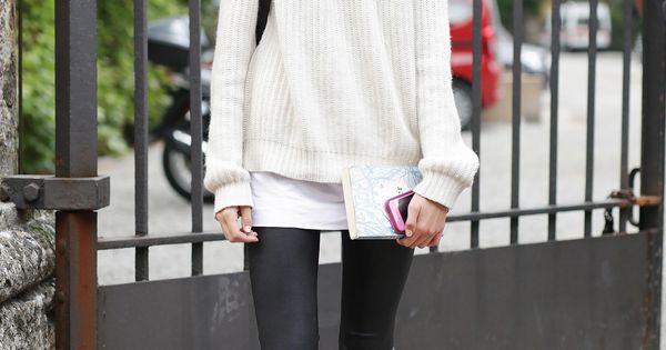 Milan Fashion Week: A plain white tee chicly divided a neutral sweater