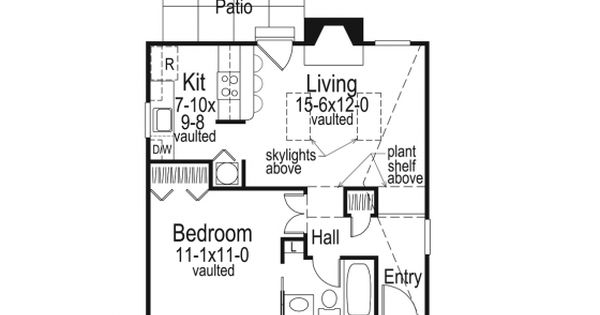 Level 1Cottage House Plan With 576 Square Feet And 1