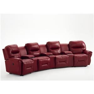 Best Home Furnishings Bodie 4 Seater Power Reclining Home Theater