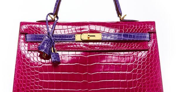 replica kelly handbags - Hermes 35cm Rose Shocking & Ultraviolet Porosus Crocodile Sellier ...