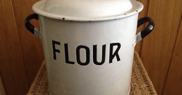 Vintage Enamel Flour Tin Embossed Ebay Maw Maw S